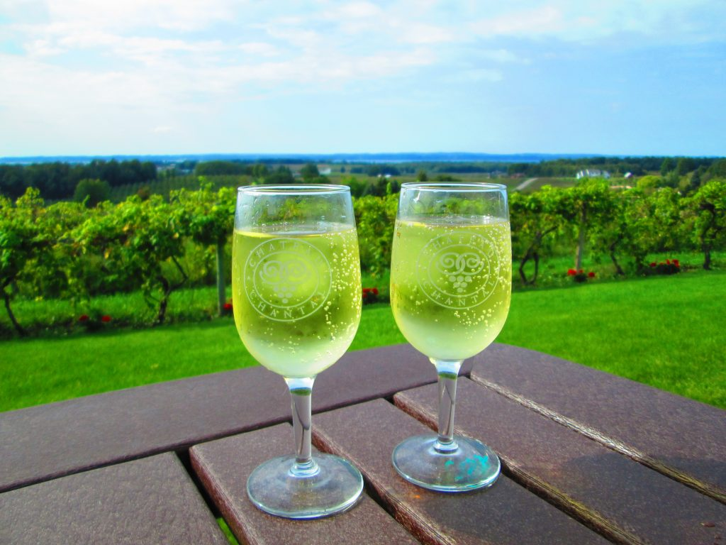 Two wineglasses on a table with a sun-bathed vineyard in the background, illustrating that with the right plan it is possible to achieve financial freedom on an average income while still living well.