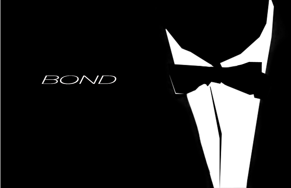 Black and white outline of tuxedo, drawing a parallel between double agents such as James Bond and compound interest working against you.