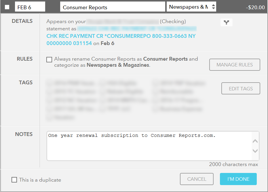 Screenshot of Mint's Transaction Details Form, providing a general overview of format and content.