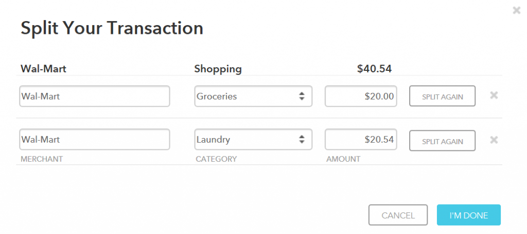 Screenshot of Mint's Split Your Transaction form, illustrating how a single transaction can be split into different budget categories.