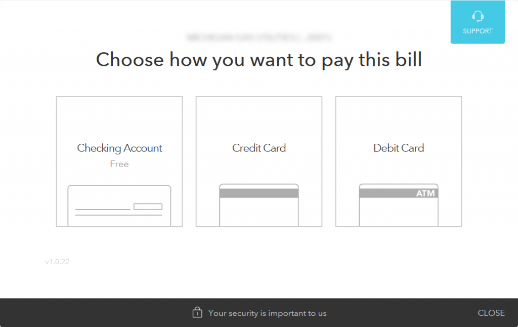 Screenshot of Mint's Bill Payment Type Menu, a component of Mint's Bill Pay functionality.