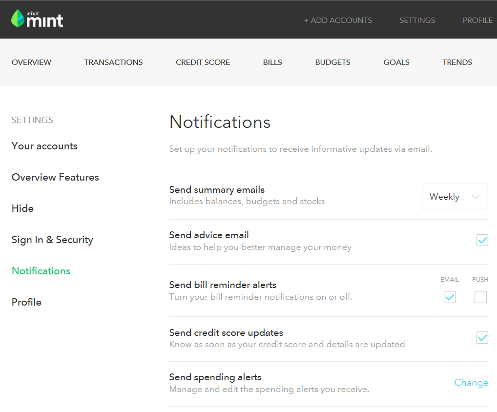 Screenshot of Mint's Notifications Settings Page, where email and text bill pay reminders and alerts can be configured.