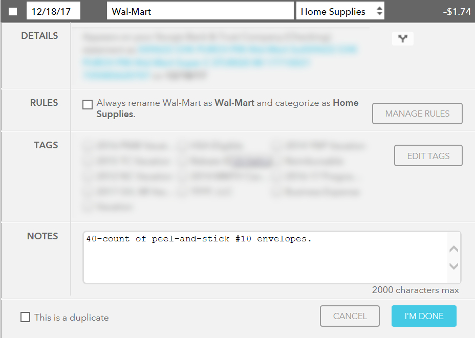 Screenshot of Mint Transaction Details screen, illustrating the ability to add a note to a transaction.