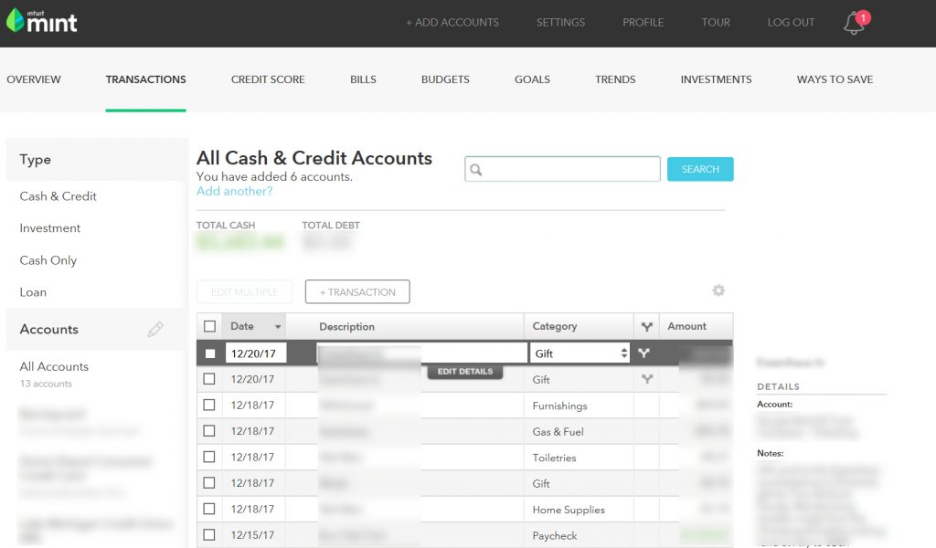 Screenshot of Mint Transactions screen, illustrating how Mint automatically tracks your income and spending.