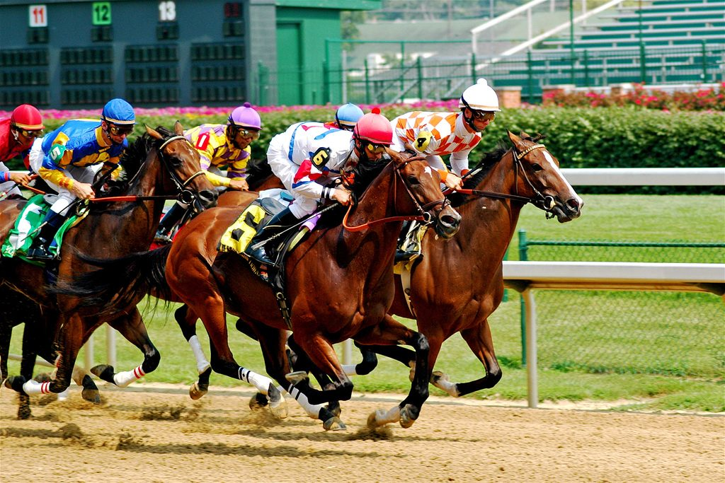 Two racehorses neck-and-neck on the track, illustrating the tight race between the Debt Snowball and the Debt Avalanche to be first to the debt-free finish line.