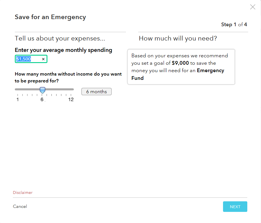 Step 1 Screenshot of Mint's Save For An Emergency Goal creation, illustrating the process for configuring savings goals in Mint.