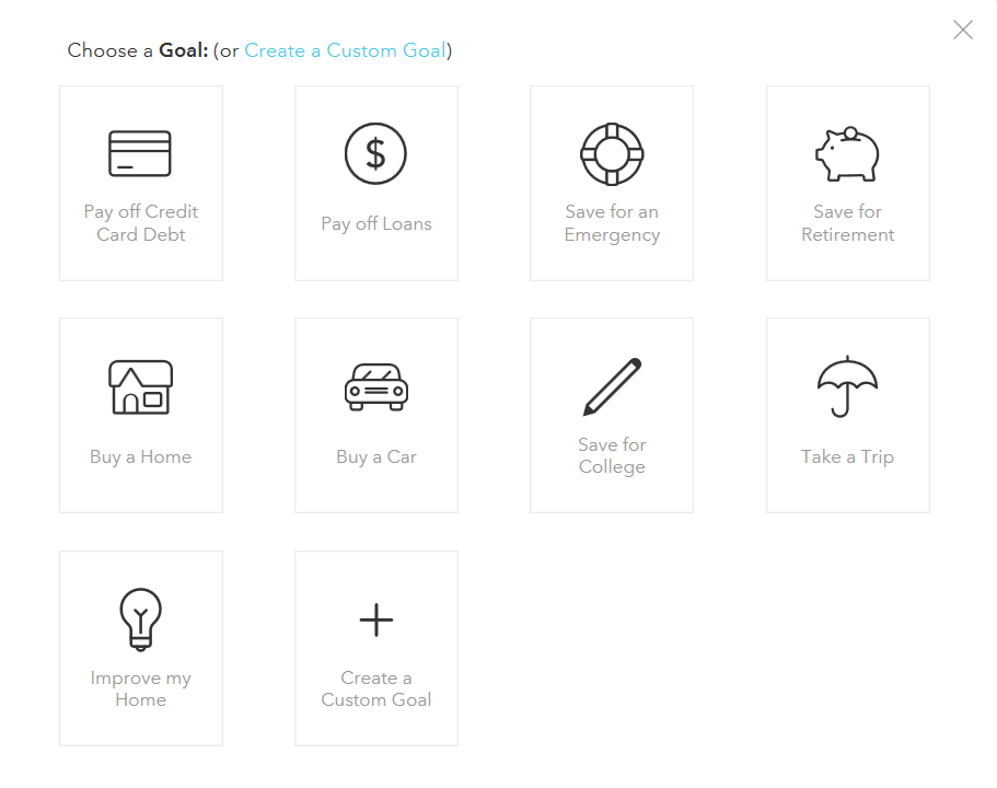 Screenshot of Mint's Add A Goal Menu, illustrating the process for configuring savings goals in Mint.