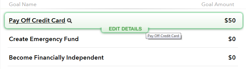 Screenshot of Edit Details selection for Mint Savings Goals listed on the Budgets page.