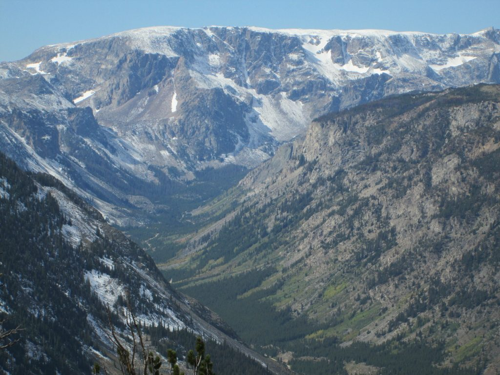 View of Beartooth Highway far below from the top of Beartooth Pass
