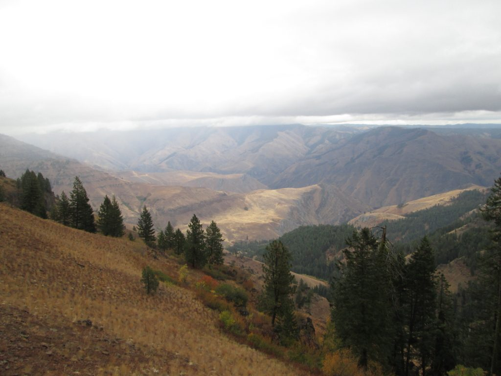 Sheets of rain sweeping across the Idaho Sun Devils range bordering Hells Canyon.