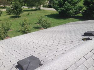 Our garage roof, the potential site of a future solar panel array installation.