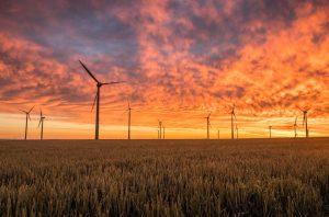 A field of windmills, silhouetted by a glowing orange sunset.